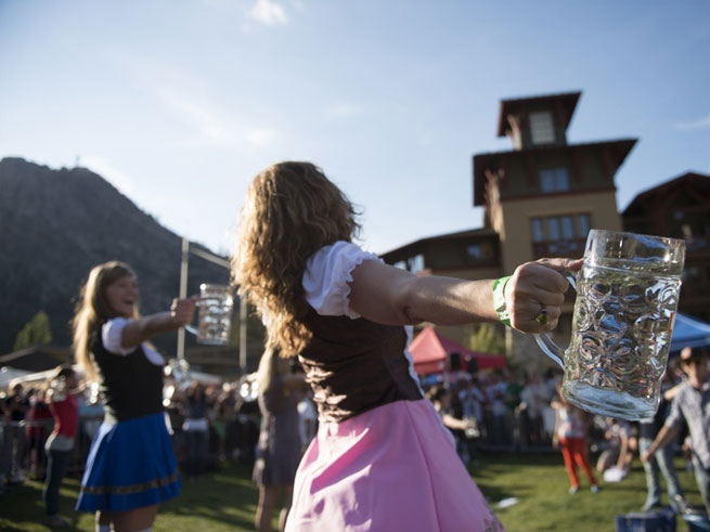 Oktoberfest beer steins and Bavarian dancers at Squaw Valley
