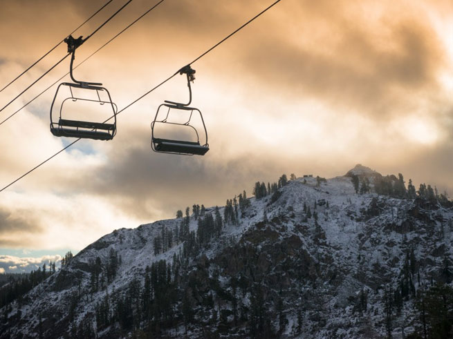 Snow at Squaw Valley Chair Lift