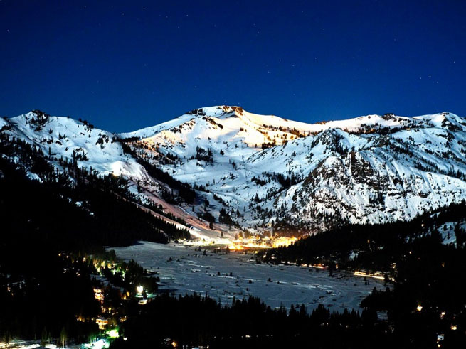 Squaw Valley at night under the stars during the winter