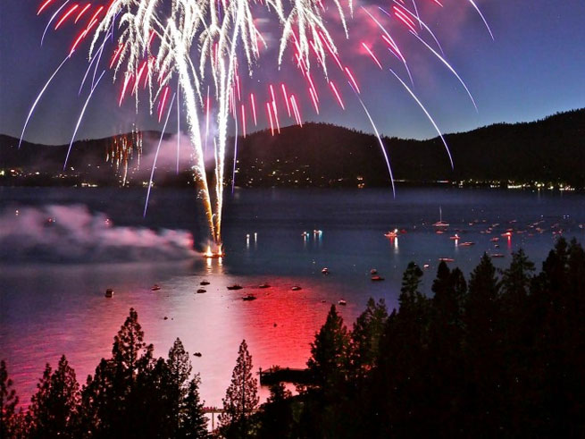 Fireworks over Lake Tahoe for July 4th